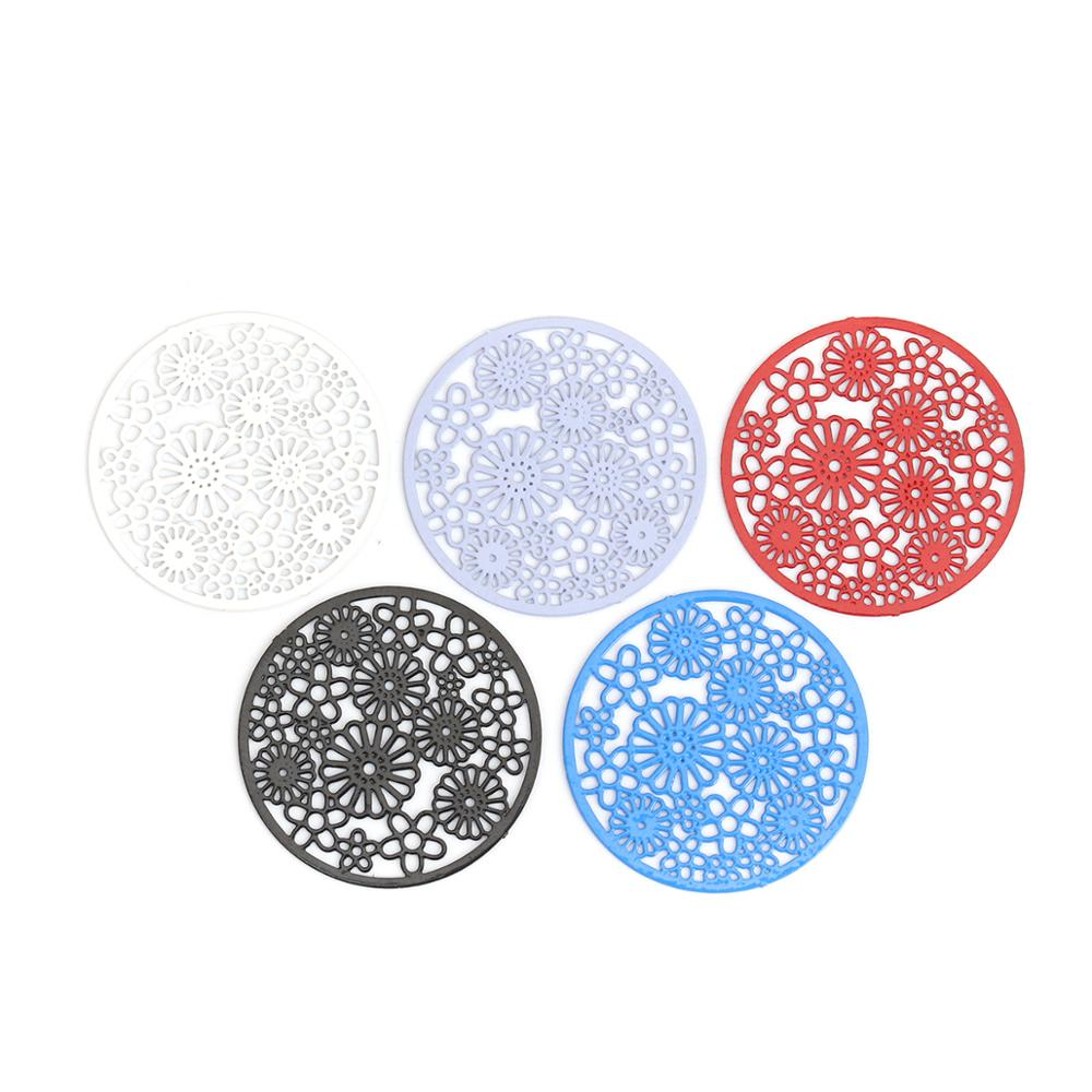 DoreenBeads Fashion Copper Connectors Round Black Blue Red White Flower Hollow Jewelry DIY Findings Charms 22mm Dia., 10 PCs