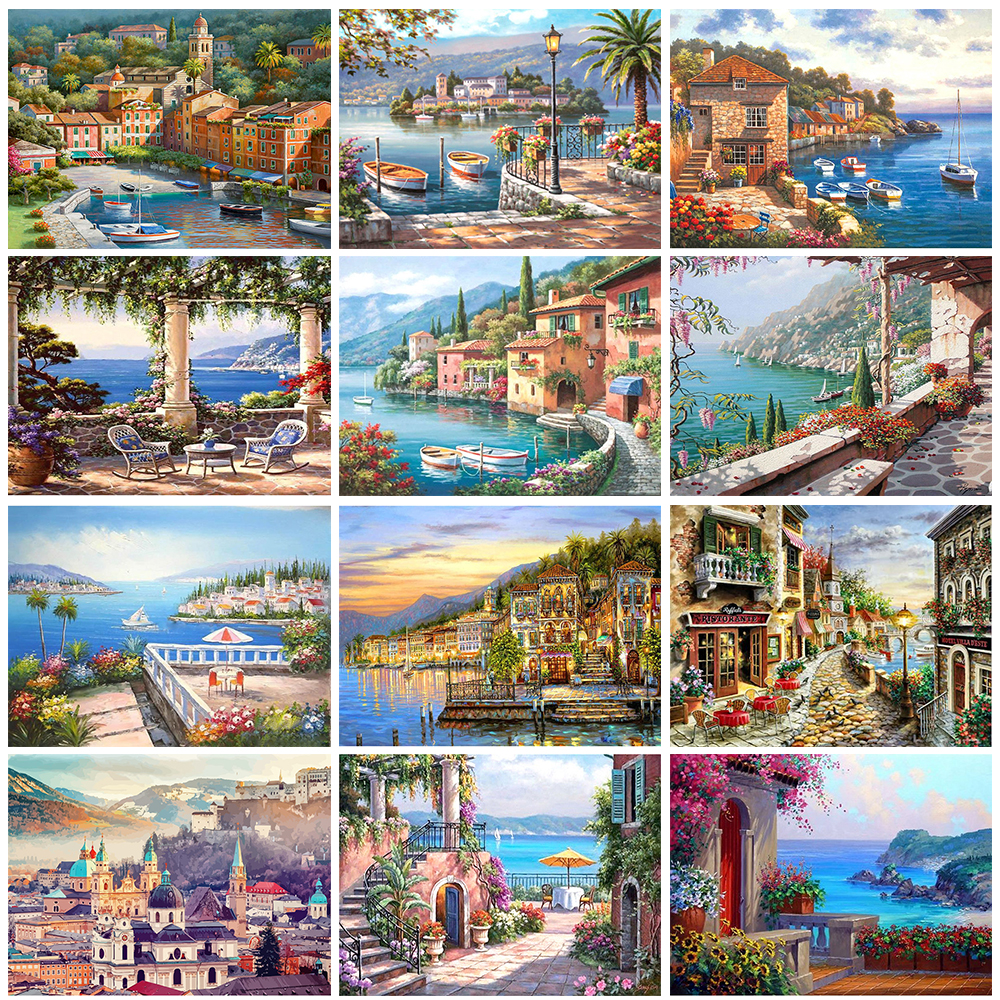 GATYZTORY Paint By Numbers For Adults Children DIY HandPainted Oil Painting Town Landscape Picture Paint Home Decoration