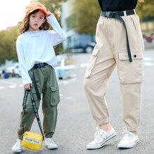 Модные ковбойские штаны для девочек-подростков, штаны цвета хаки с высокой талией, спортивные длинные брюки в полоску с принтом, повседневные брюки с карманами, Большие Детские осенне-зимние штаны года для детей