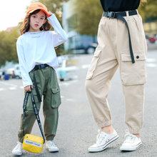 Moda Cowgirl nastolatków spodnie do biegania dla dziewczyna wysoka talia Khaki Cargo spodnie w paski drukuj sport długie spodnie na co dzień kieszeń spodnie typu Casual duże dziecko jesień zima w wieku 5-13 lat dzieci tanie tanio OBOVATUS COTTON Luźne Dziewczyny Skrzydeł Pełnej długości Pasuje prawda na wymiar weź swój normalny rozmiar Elastyczny pas