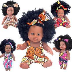 2020 черный reborn baby doll афро волос 30 см 12 дюймов boneca поп Куклы новорожденных полный силиконовые poupee детские игрушки для девочек