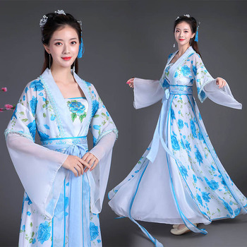 Traditional Chinese Folk Dance Clothing Hanfu Students Female Hanfu Fairy Blue Flower Printing Ancient Princess Chaise DL4164