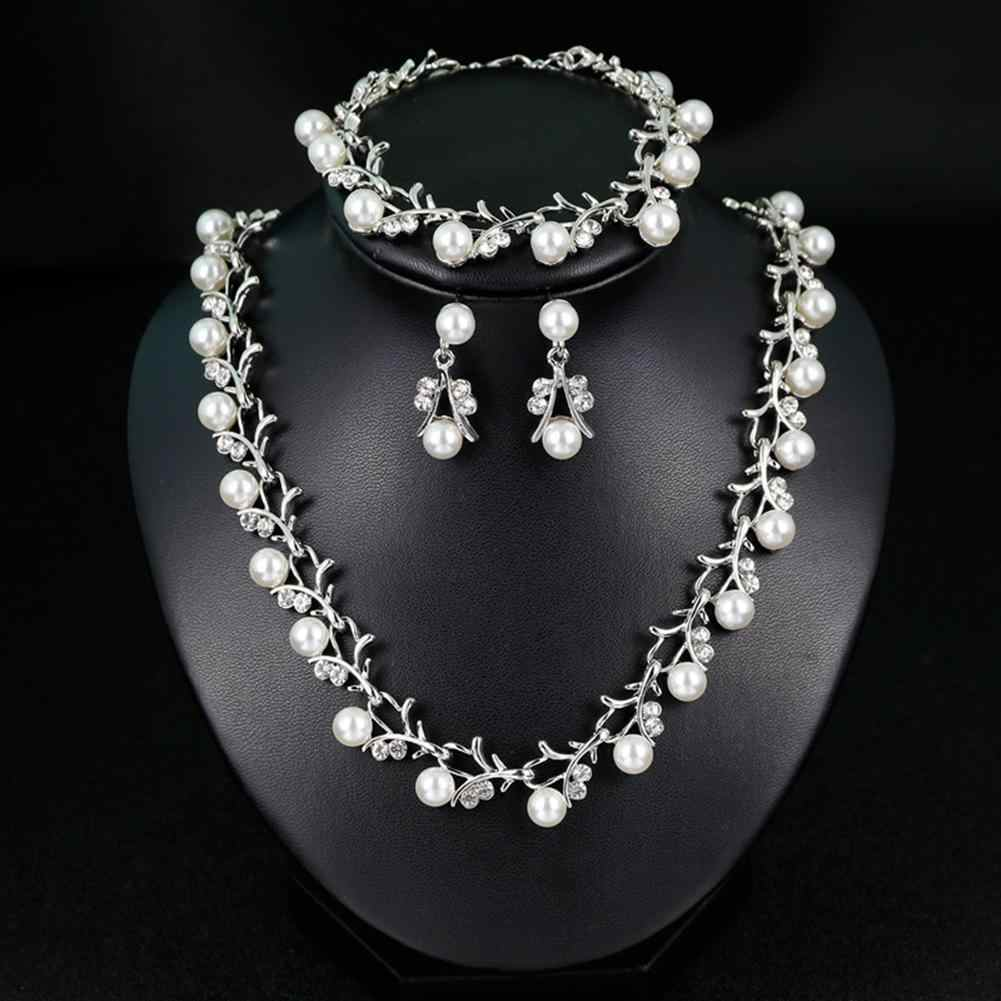 Women Bride Faux Pearl Rhinestone Necklace Stud Earrings Bracelet Jewelry Set New Chic