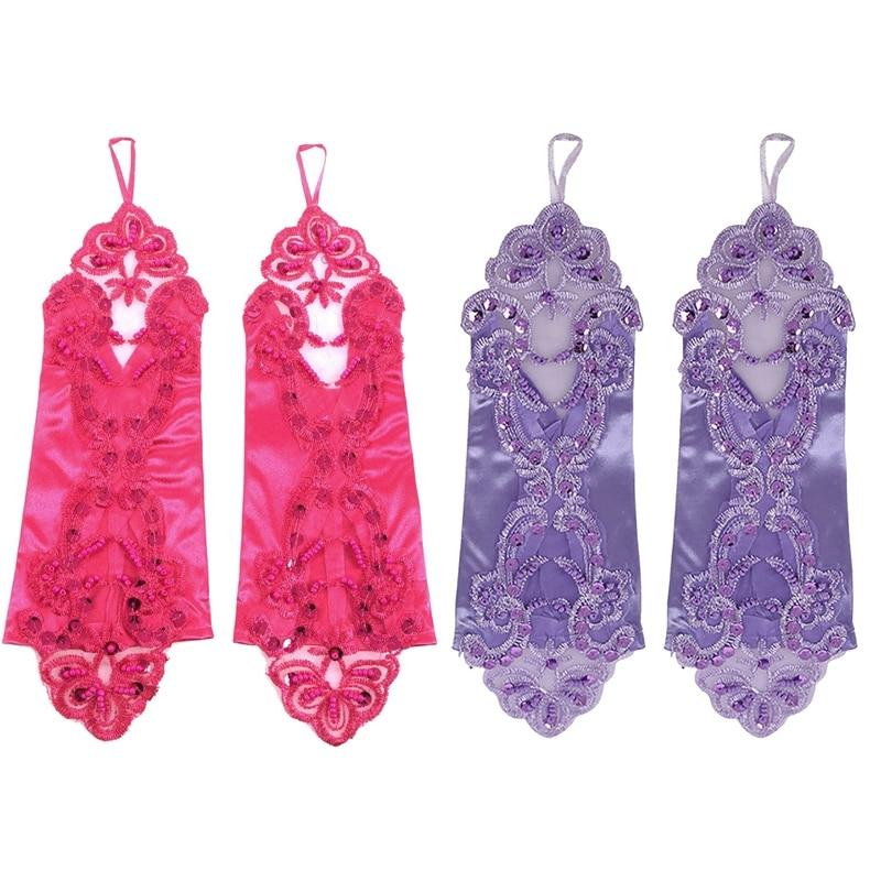 2 Pairs Women' Flora Short Wedding Dress Glove Fingerless Elegant Gloves For Bride Party, Purple & Rose Red