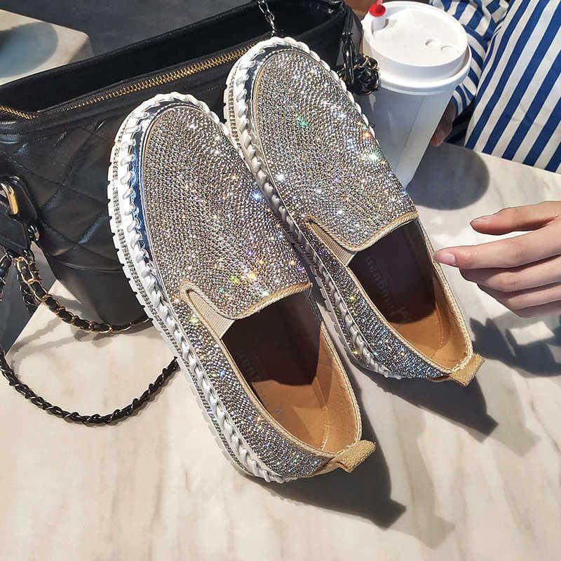 Müßiggänger schuhe frauen luxus silber kristall slip auf plattform casual schuhe frau shinning bling feste schwarz flachen absätzen schuhe