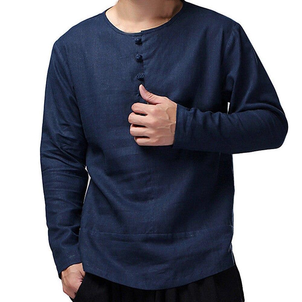 Mens Chinese Retro Cotton Long Sleeve Shirt Casual Kongfu T-shirt Top Fashion