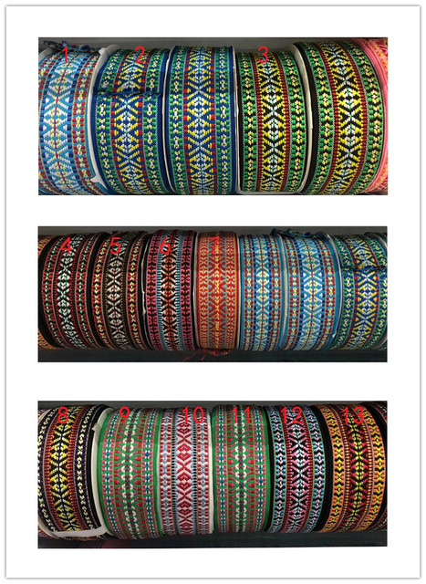 $  wide 5cm 45yards/lot Polyester Woven Jacquard Ribbon Geometric national style for hat curtain and clothing accessory LS-5356