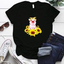 Bandana Pig Print Women TShirt for Lady Girl Short Sleeve Casual Cool Funny