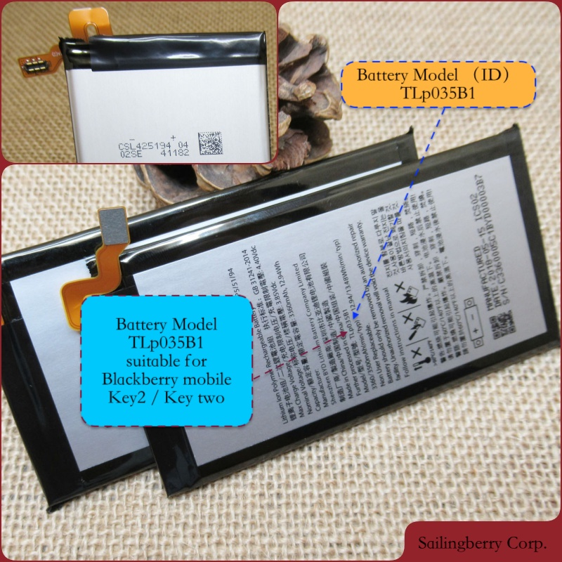 Original battery suitable for blackberry-mobile Key-two / Key2 mobile with battery model TLp035B1(3500mAh(China)