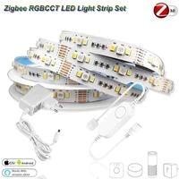 5M DC12V 5050 RGB + CCT 90 leds/m taśma LED Zigbee RGBCW mini kontroler zestaw zasilający do Smartthings ZIGBEE 3.0 H * u * E Echo Plus