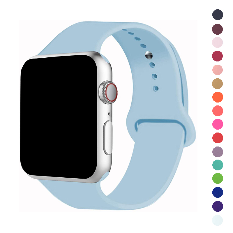 Band For Apple Watch 5 4 40MM 44MM Soft Silicone Sports Bands Rubber Strap For IWatch Series  3 2 1 38MM 42MM Accessories