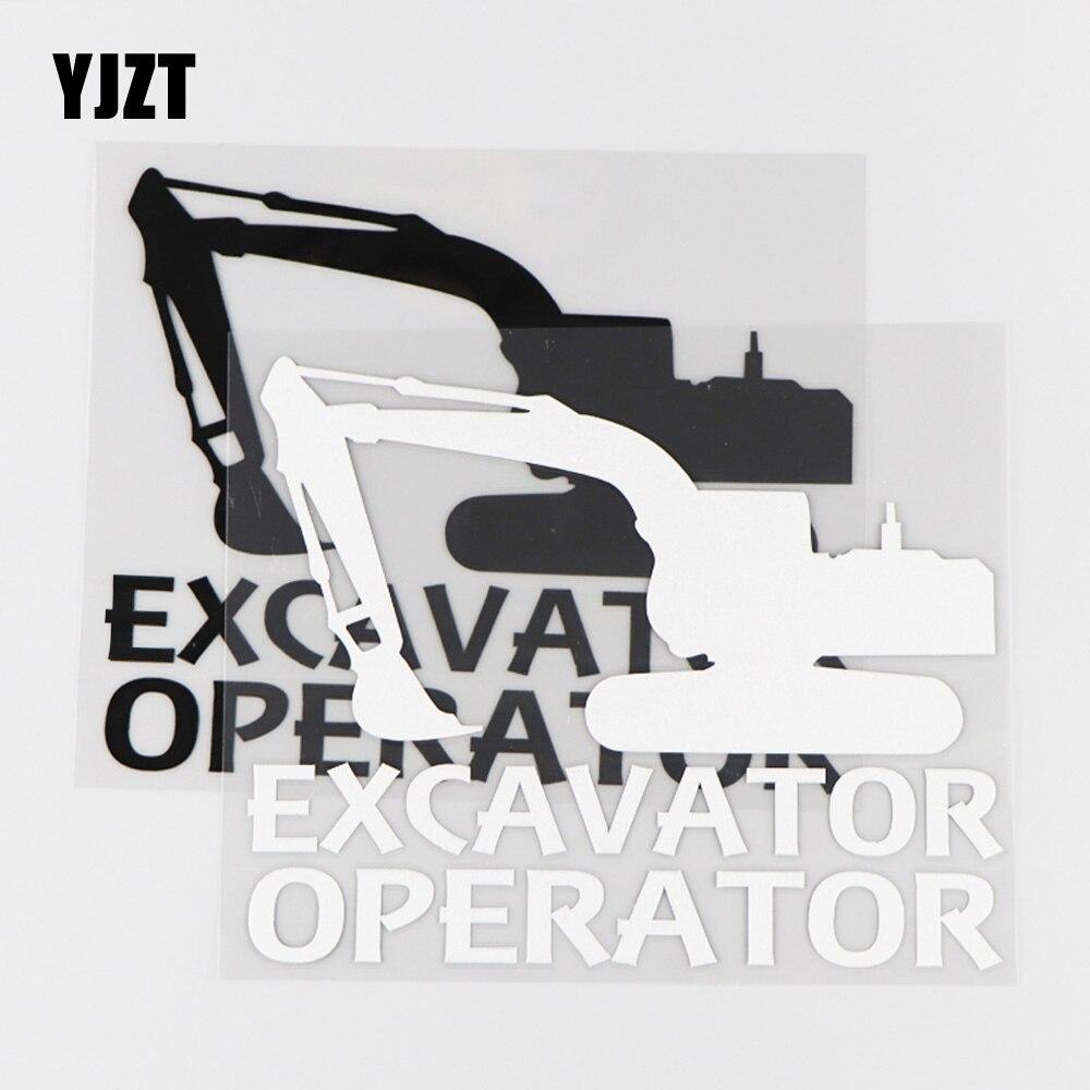 YJZT-pegatina de vinilo para coche de operador de excavadora, 15x12,2 CM, calcomanía impermeable, dibujos animados divertidos, negro/plata, 4C-0172
