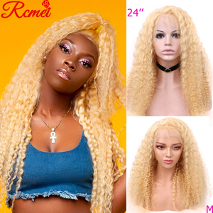 13x4 Transparent 613 Blonde Lace Front Wig Brazilian Deep Wave Lace Front Human Hair Wigs Pre Plucked With Baby Hair 150% Remy(China)