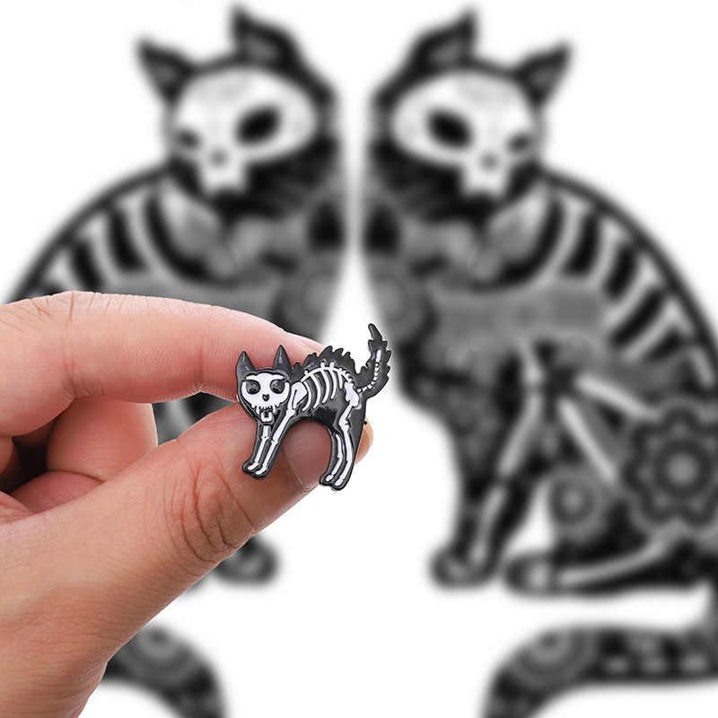 Kucing Burung Tulang Kerangka Bros untuk Wanita Kreatif Punk Enamel Pin Jaket Denim Tas Lencana Bros Aksesoris Perhiasan Anak Hadiah