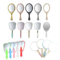 Vanity Mirrors Plastic Wood Round/Teeth/RectangleShaped Makeup Mirrors Hand Mirrors Cosmetics Held For Ladies Beauty Dresser
