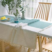 50 Creative Plaid Decorative Linen Tablecloth With Tassel Waterproof Oil proof Thicken Rectangular Wedding Dining Tea Table Cloth