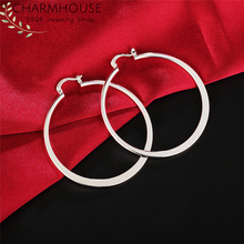 Charmhouse Pure Silver Earrings For Women Big Circle Round Hoop Earing 925 Jewelry Accessories Brincos Pendientes Gifts