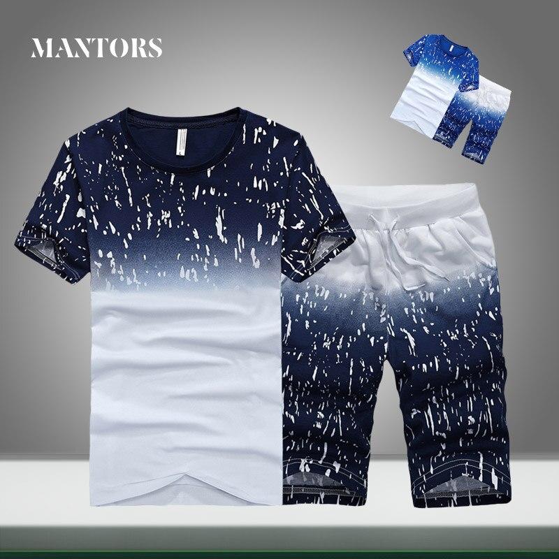 גברים אימונית מקרית הקיץ חדש מגמת מוצק אחוי סטי Slim Fit Mens ספורט Jogger חולצות + מכנסיים קצרים שתי חתיכות ספורט חליפות