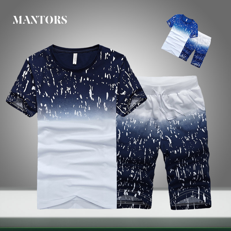 Men Tracksuit Casual Summer New Trend Solid Splice Sets Slim Fit Mens Sportswear Jogger T-shirts+Shorts Two Pieces Sport Suits