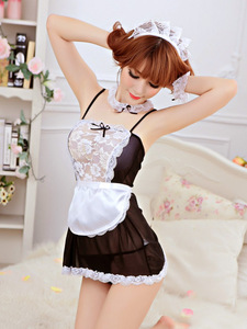 Wontive Maid Uniform Costumes Role Play Women Hollow Sexy Lingerie Hot Sexy Underwear Lovely Female Lace Erotic Costume Suit