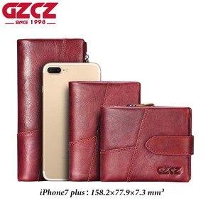 Image 5 - GZCZ 2020 hakiki deri cüzdan kadınlar için cüzdan kadın lüks inek deri iş kadın çantası hakiki deri çanta