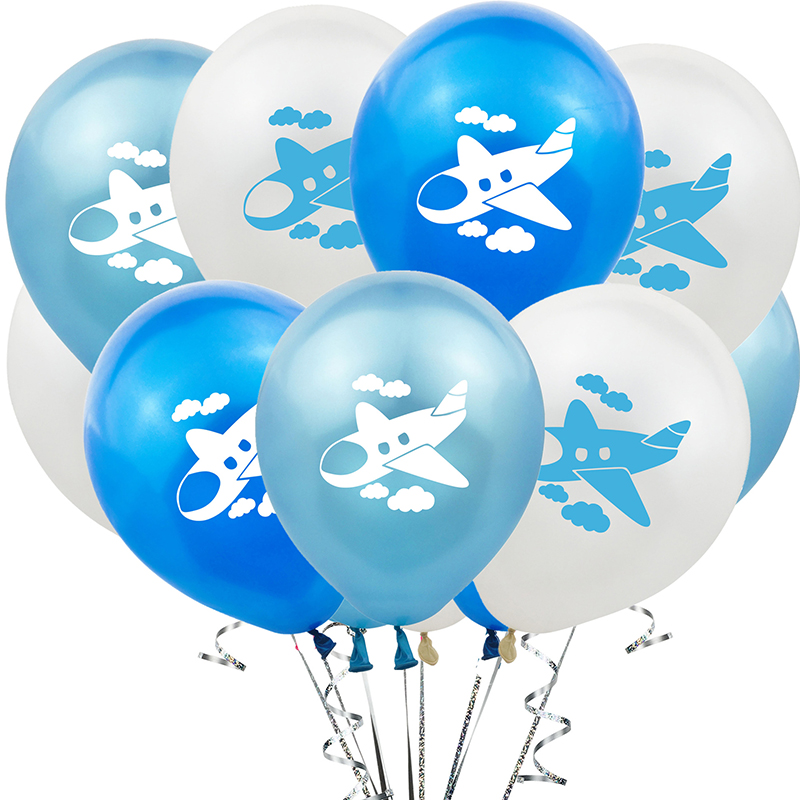 10pcs 12inch Airplane Latex Balloon Blue White Confetti Latex Balloon Kids Favor Toys Balloons for Birthday Theme Party Decorate image