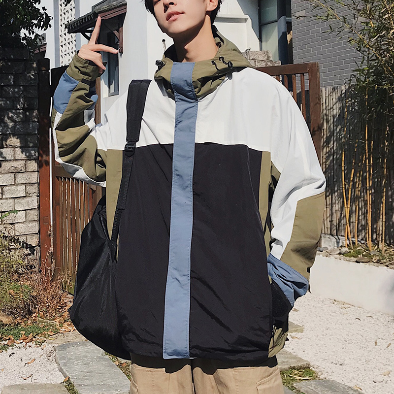 Hooded Jacket Streetwear Autumn Casual Fashion New Hip-Hop Man Stitching Wild Loose Contrast-Color
