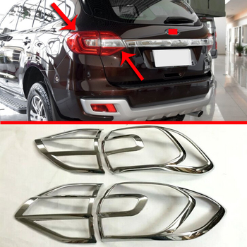For Ford Everest 2016 2017 2018 ABS Chrome Tail Light Rear Back Frame Lamp Cover molding