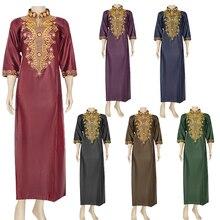 Muslim Dress Ramadan Clothes Abaya Kaftan Embroidery African-Robe Jibab Islamic Galabia