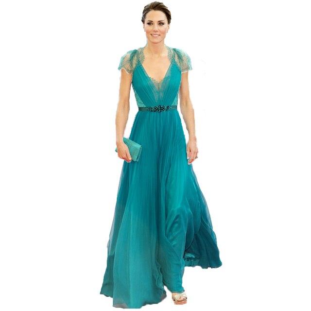 Abiti Da Sera Jenny Packham.Sexy V Neck Cap Sleeves Hunter Blue Evening Dresses Kate Middleton