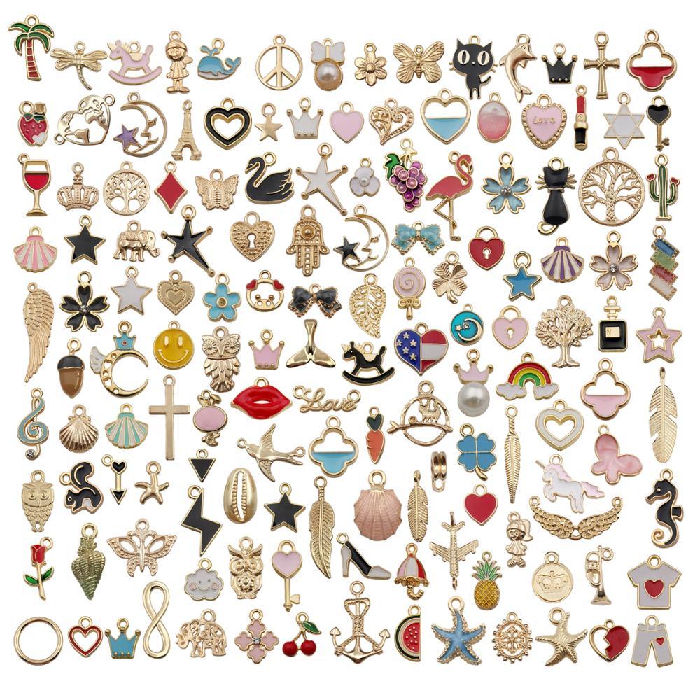 110 шт. ассорти из эмали, животных, растений, фруктов, Луны, звезд, случайных шармов, подвески для ожерелья, браслета, изготовления украшений