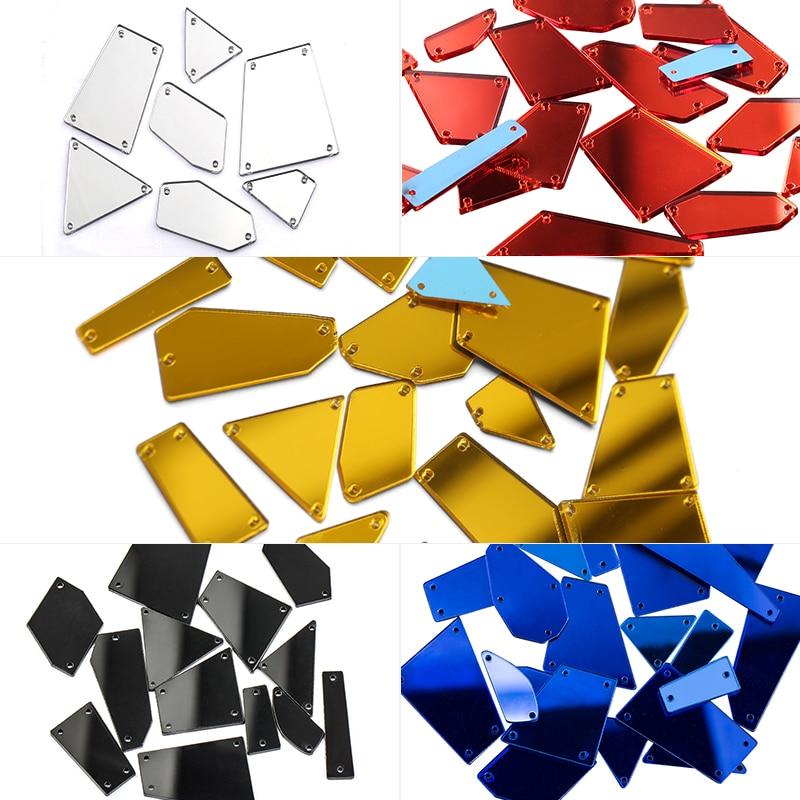 Mixed Size 30pcs 4Colors Acrylic Mirror Sew On Rhinestones Irregular Acryl Mirror Sew On Stones Crystal Strass