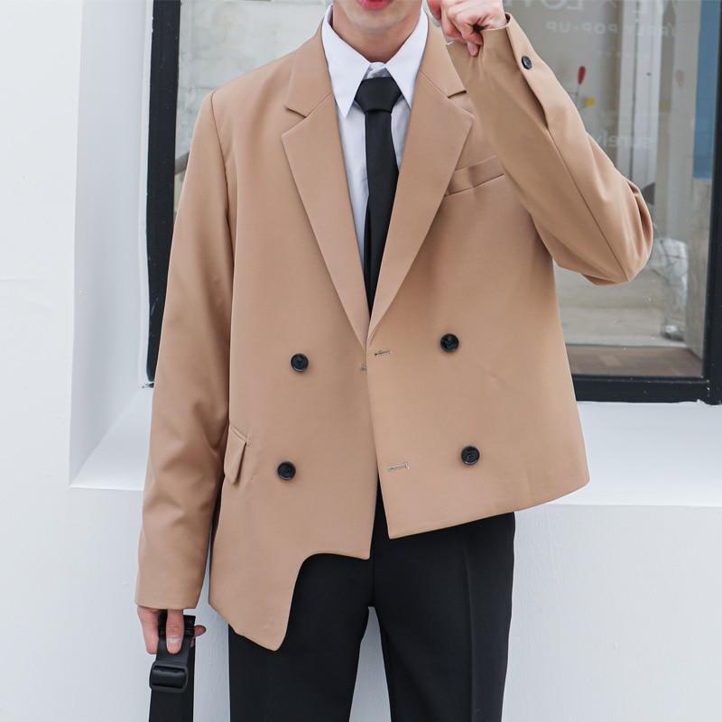 Men Asymmetric Double Breasted Casual Suit Coat Male Japan Korea Streetwear Fashion Blazers Jacket Outerwear