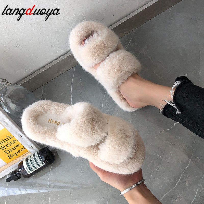 2020 Furry Women Slippers Home White