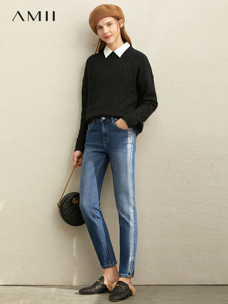 Amii Autumn Women Skinny Jeans Casual Feamle Zipper Side Striped Slim Pocket Jeans 11940682