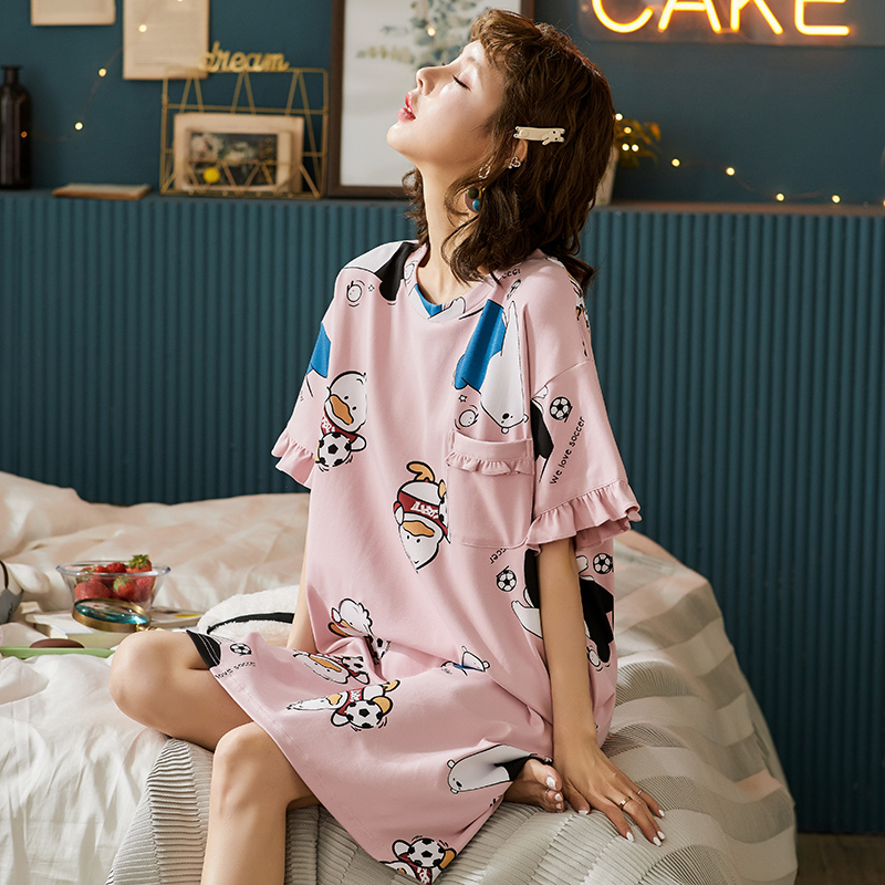 BZEL Cute Cartoon Sleepwear Pink Ladies Nightwear 100% Soft Cotton Sleepwear Short Sleeve Nightdress Spring Summer Autumn Pijama