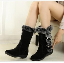 2019 Mid-Calf Boots Women Snow Boots Faux Fur Warm Wedge Platform Shoes Ladies Cute Fashion Winter Booties Plus Size 42 AEZLZ156