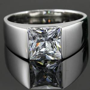 925-Sterling-Silver Jewelry Diamond-Ring Solitaire Moissanite Engagement Princess-Cut