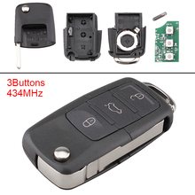 433MHz 3 Buttons Keyless Remote Car Auto Key Fob Replacement ID48 Chip 1J0959753DA Fit for VW Beetle 1997-2010 Polo Skoda