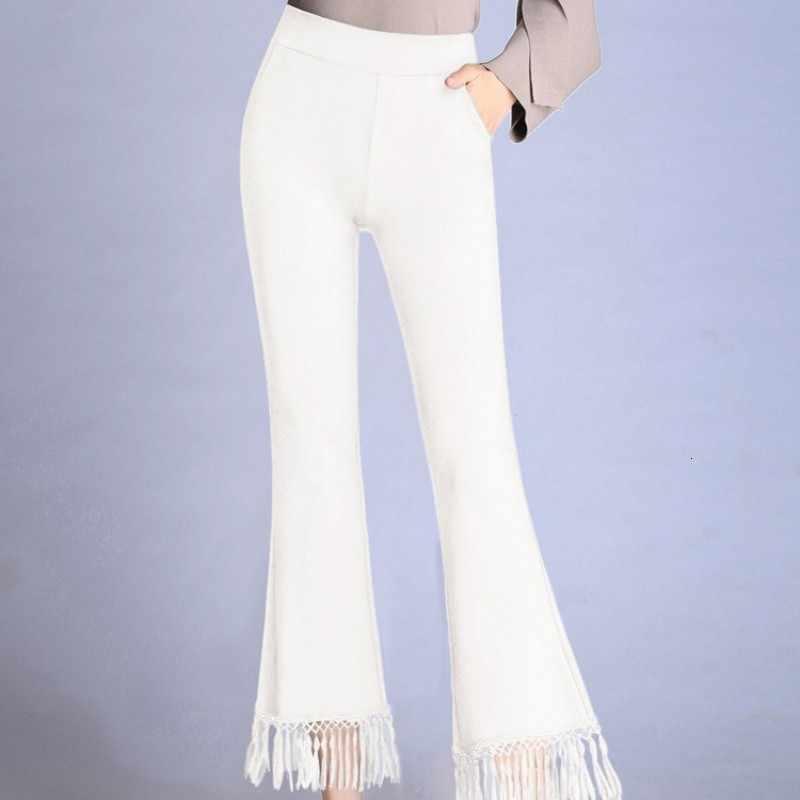 패션 여성 tassels 플레어 바지 높은 허리 슬림 맞는 사무실 숙녀 발목 길이 바지 플러스 크기 9xl 클래식 블랙 화이트 바지