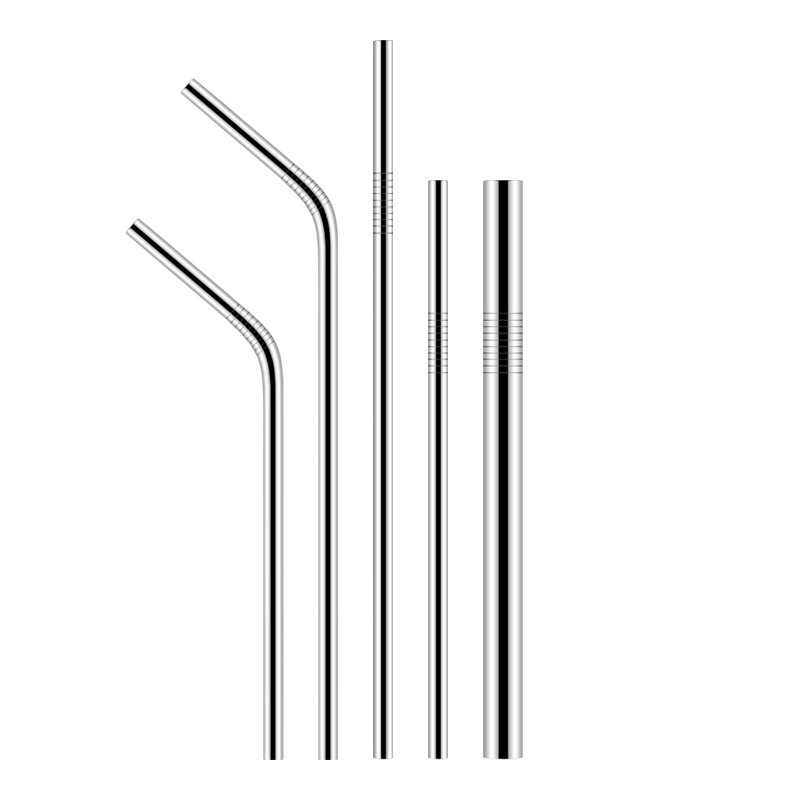 304 Cold Drink Straw Metal Drinking Straw Long Thick Suction Pearl Milk Tea Stainless Steel Environmentally Friendly Elbow Cocta