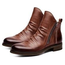 Men Leather Boots High Quality Comfy Anti-Slip Casual Men Boots Double Side Zipper Non-slip Sole Men Martin Boots Work Men Boots