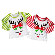 Little Girls Xmas T Shirts Toddler Baby Christmas Costume Boutique Tshirt Tops Stripeds Raglan Reindeer Children Blouse Shirt 1Y цены онлайн