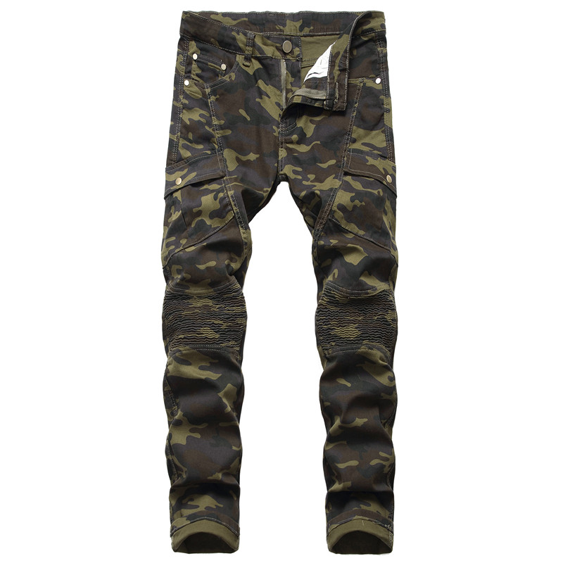 KIMSERE Men's Pleated Camouflage Biker Jeans Military Style Camo Cargo Denim Trousers With Pockets Motorcycle Jeans For Male