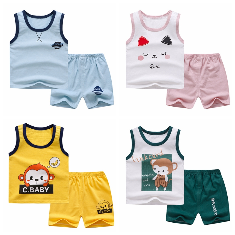 2020 Children Casual Clothing  Boy Sleveless Clothes Outfit Girl Kids Boy Sports Suits Clothing Kids Wear For Summer