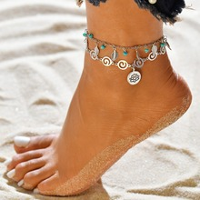 Hello Miss New jewelry 3D symbol pendant anklet national wind spiral alloy double-layer beach womens