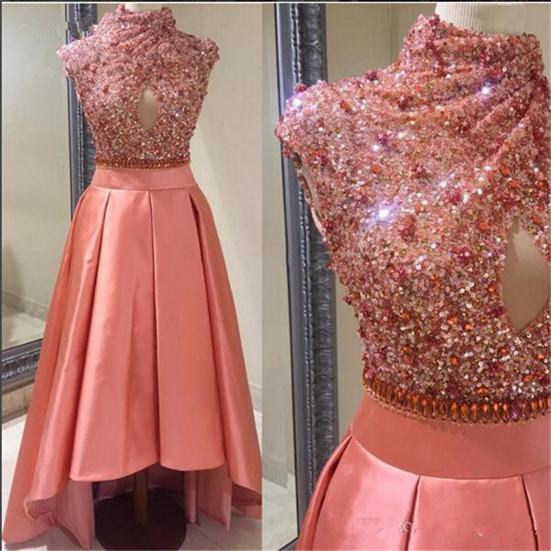 Sexy Off The Shoulder High Low Sequin Crystal Formal Evening Prom Party Dress Turkish Evening Gowns Dresses Robe De Soiree 2019