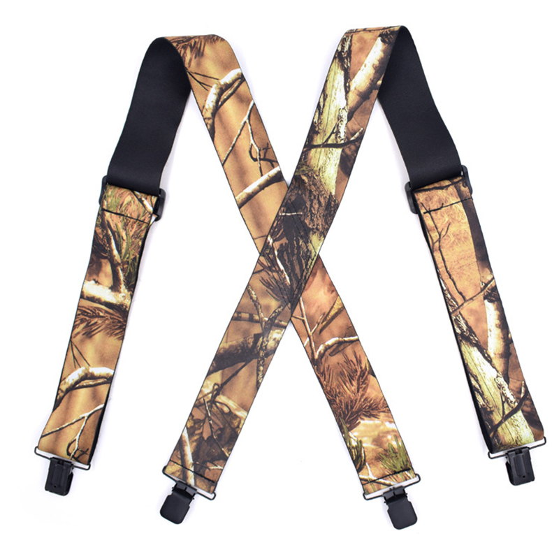Men Suspenders Camouflage Print Elastic Tactical X Shape 4 Black Clips-on Suspenders Length Outdoor Straps
