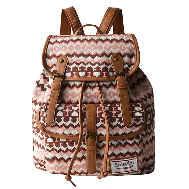 LILY QUEEN Women Backpack Woven Fabric Female Bagpack Bohemia Boho Laides Drawstring Rucksack Girls School Bags