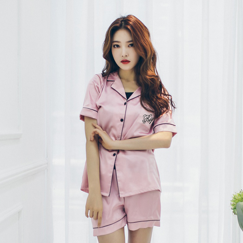 Summer New Style Women's Victoria's Secret Big Brand Imitated Silk Fabric Pajamas Suit Casual Comfortable Fold-down Collar Breat